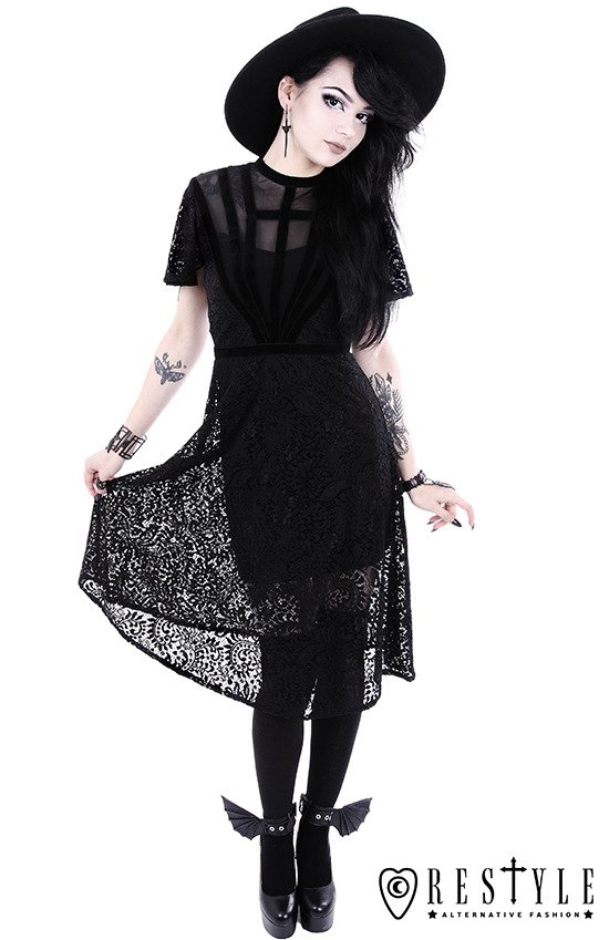 "Black Lace dress with cross straps ""BLACK DAHLIA DRESS"""