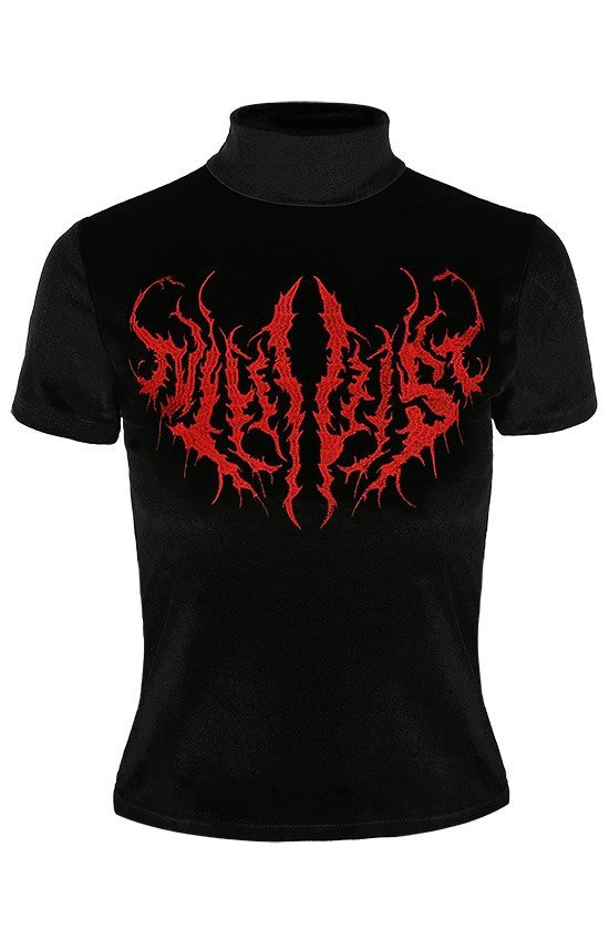 Black Metal Velvet Top NIHILIST embroidered