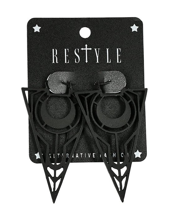 Black Moon Triangle Earrings