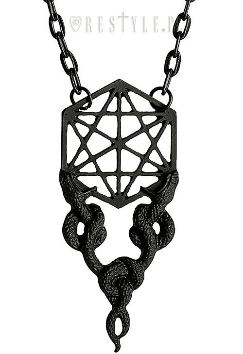 "Black Necklace ""Sacred Snakes Black Pendant"""