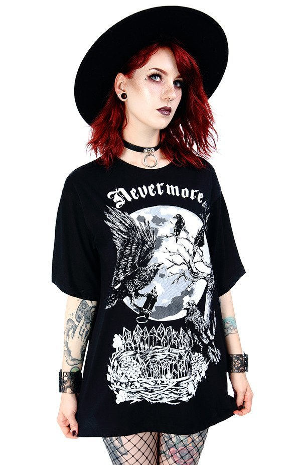 Black Oversized women`s top with crows Nevermore