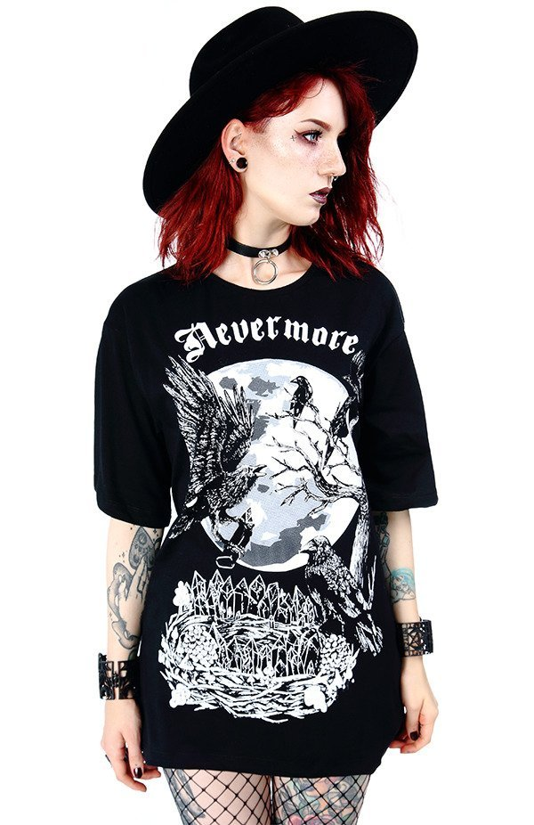 2e388b5265b7a5 Black Oversized women`s top with crows Nevermore