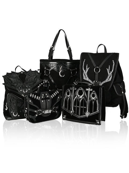Black Phantom Gothic Backpack with a dragon wings