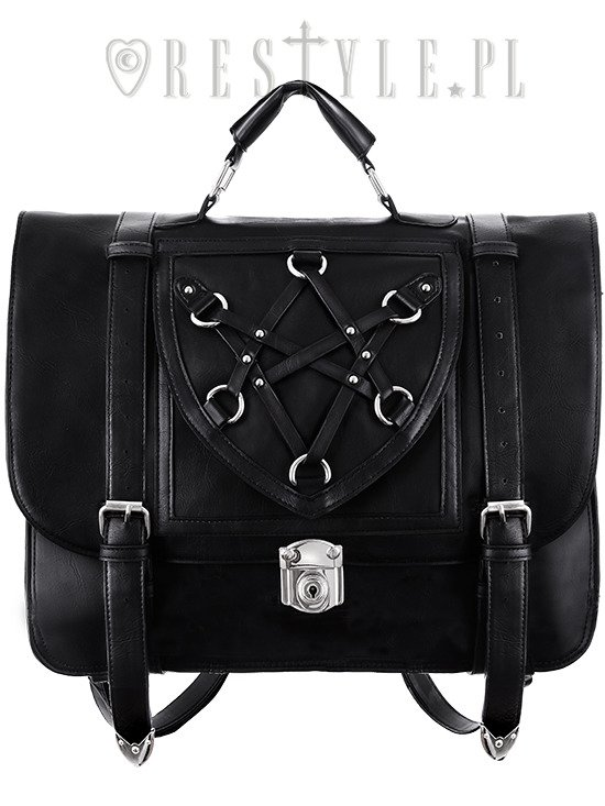Black School Bag & Bacpack, black satchel, 90s briefcaseHEXAGRAM MESSENGER""