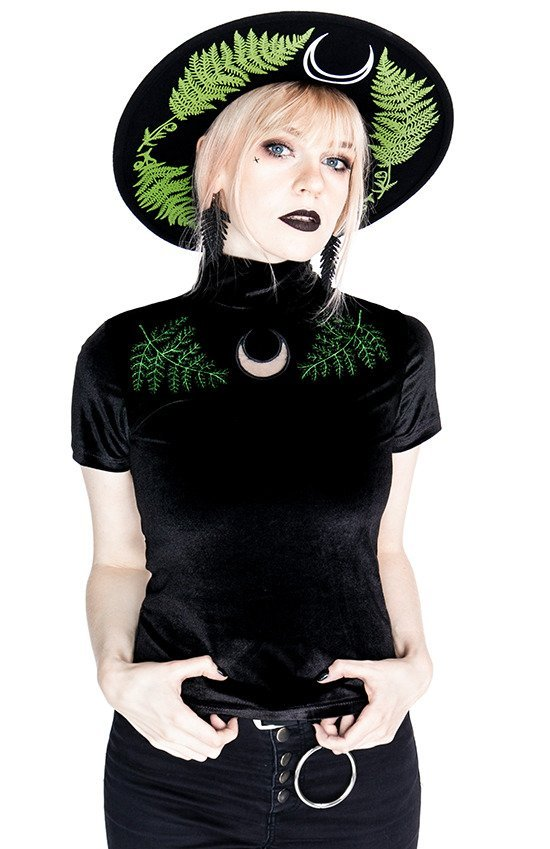 Black Velvet Forest Top with embroidery FERN VELVET TOP