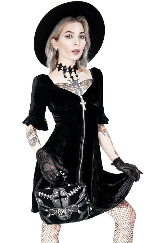 Black Velvet Sweetheart Dress with a gothic cross