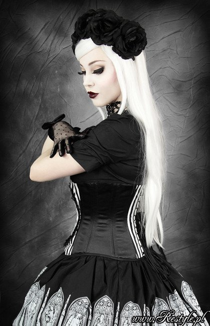 "Black and white stripes cameo corset with crow ""FANTASY RAVEN"""