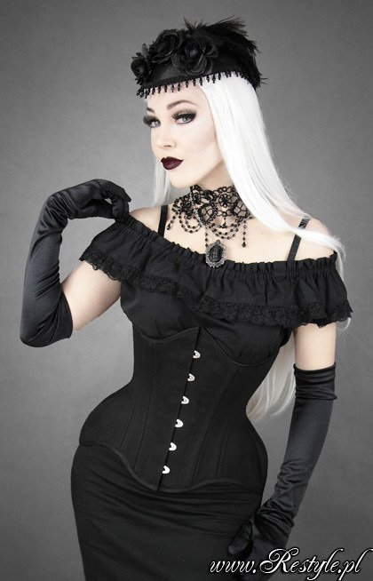 Black cotton underbust hourglass corset WIDE HIPS MATT
