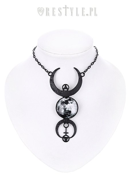 "Black crescent long pendant, occult jewellery, luna ""BLACK FULL MOON NECKLACE"""