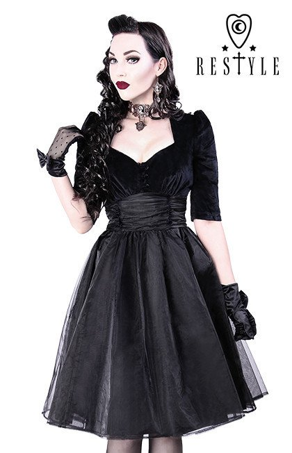 Black dress  pin up 50' heart neckline, organza R-14 BLACK VELVET DRESS