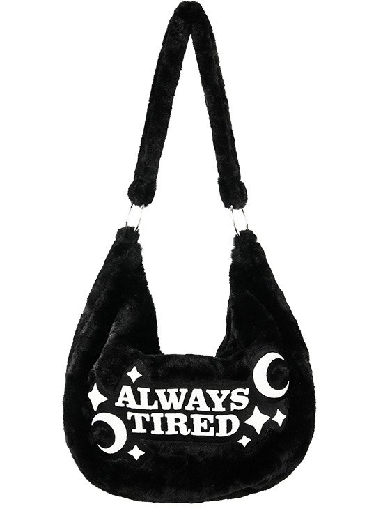 "Black fur hobo bag ""ALWAYS TIRED"" Gothic Sack Bag"