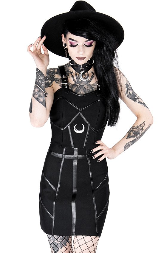 Black gothic BANDAGE MOON TOP