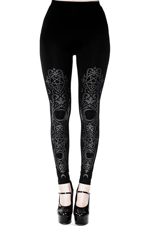 Black gothic Baroque Leggings crescent print