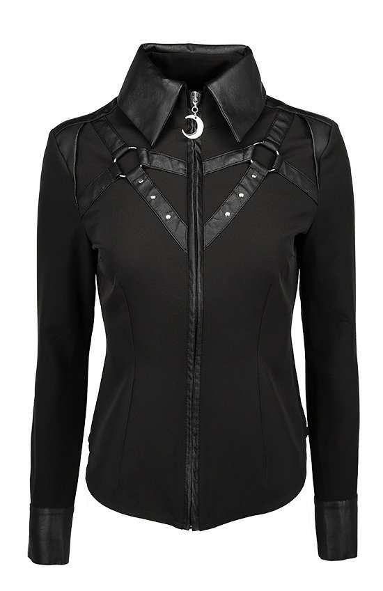 Black gothic HARNESS SHIRT with faux leather straps