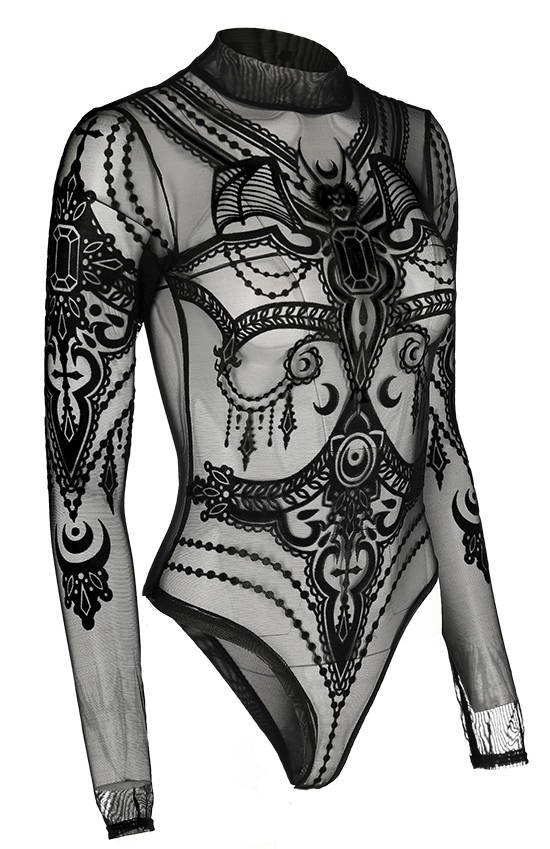 Black gothic JEWEL BAT MESH BODYSUIT
