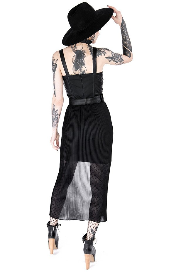 Black gothic NIGHT MIST DRESS with overskirt