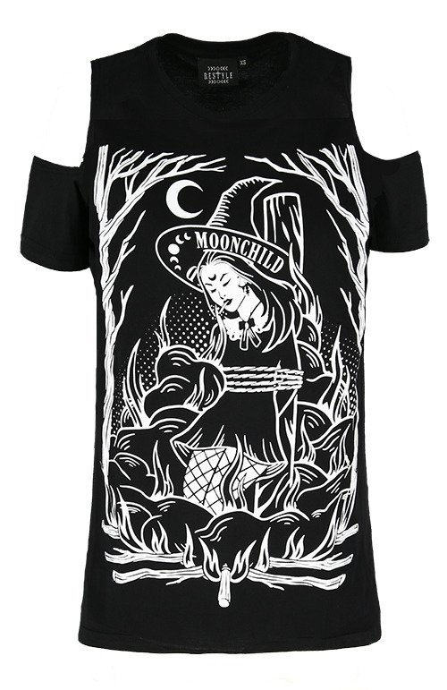 Black gothic T-shirt BURN THE WITCH COLD SHOULDER