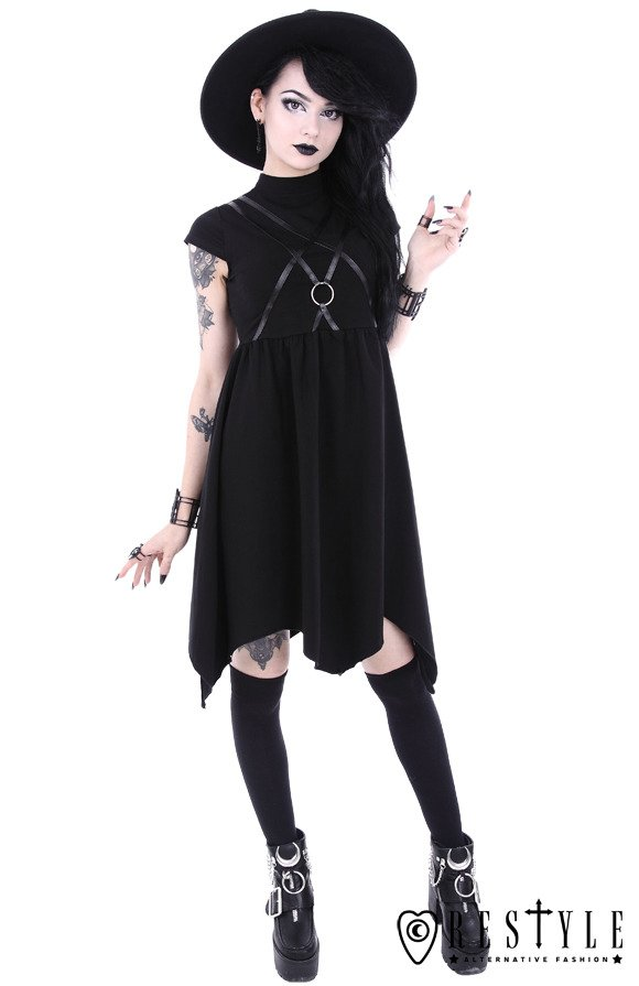 "Black gothic asymmetric dress, leather straps with o-ring""SYGIL TUNIC"""