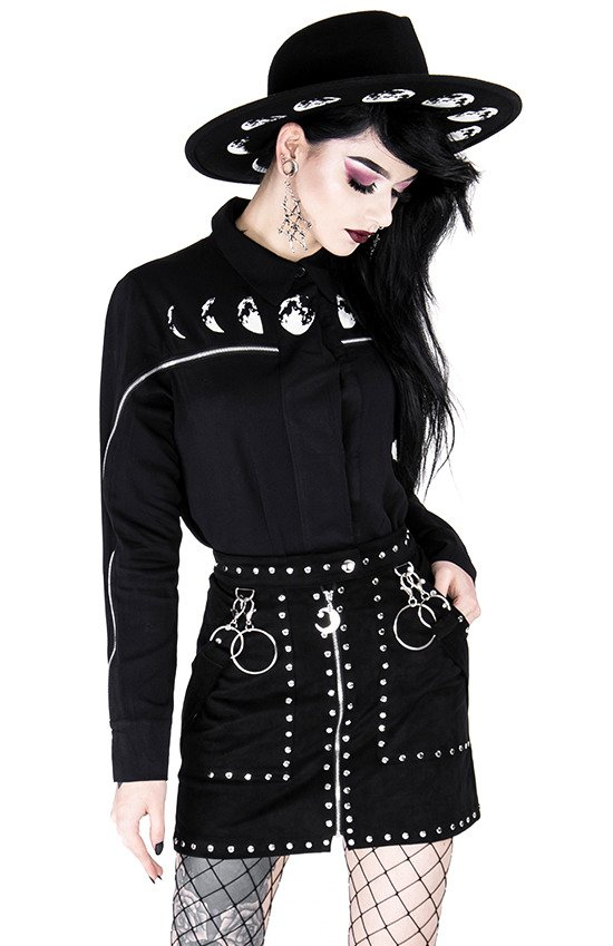 Black gothic blouse MOON PHASES SHIRT