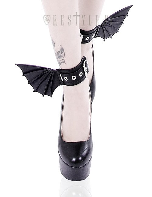 "Black gothic bracelets with bat wings, pair of cuffs, gothic shoes accesory ""BAT CUFFS"""