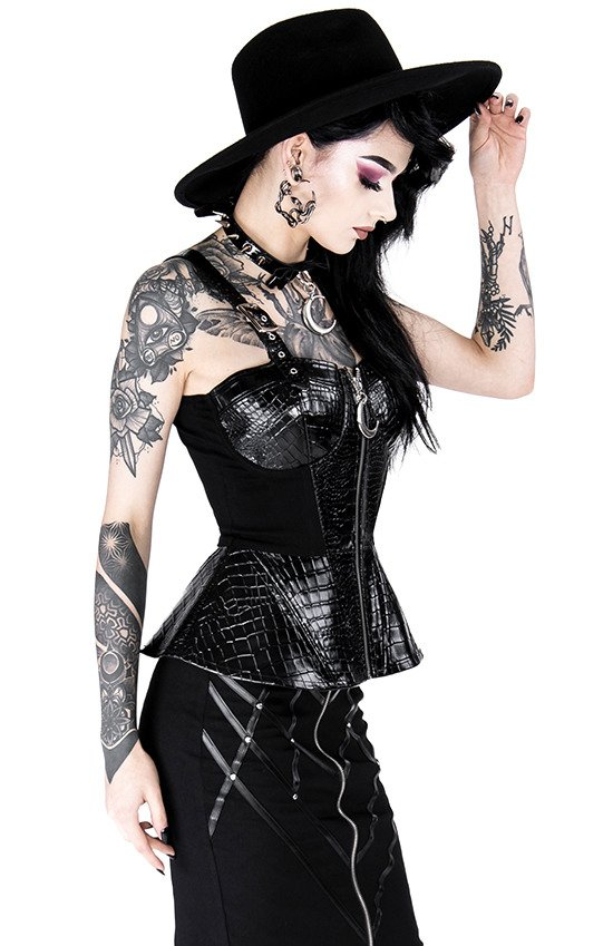 Black gothic corset ALLIGATOR BASQUINE TOP