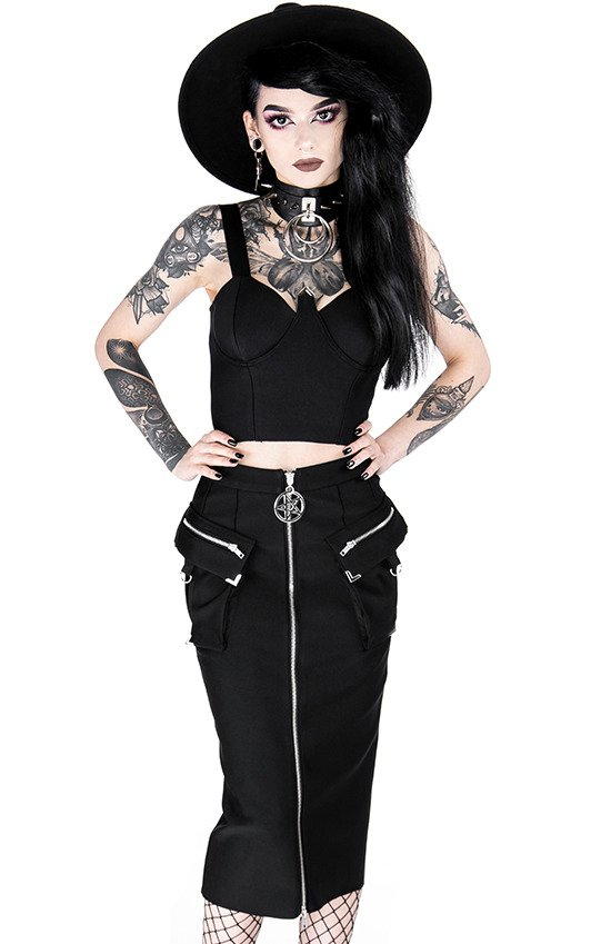 Black gothic short LENORA BRALETTE TOP