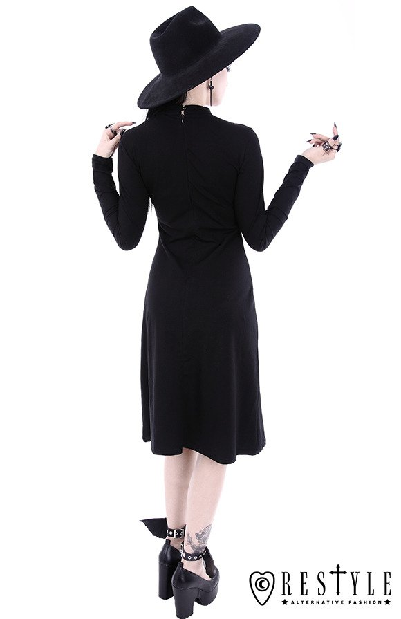"Black gothic dress, leather strap with o-ring ""SCARLETT DRESS"""