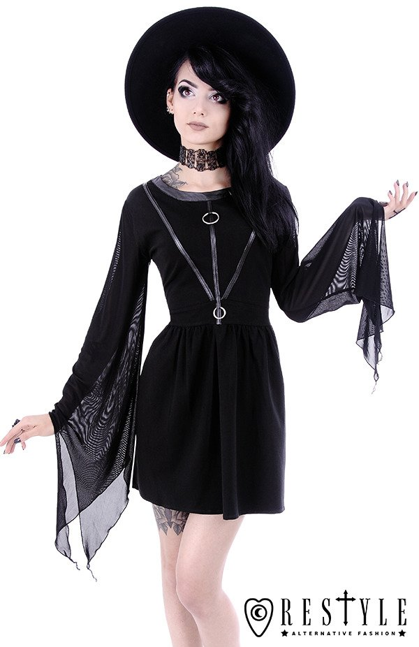 "Black gothic dress, leather straps, witchcraft fashion ""COVEN TUNIC"""