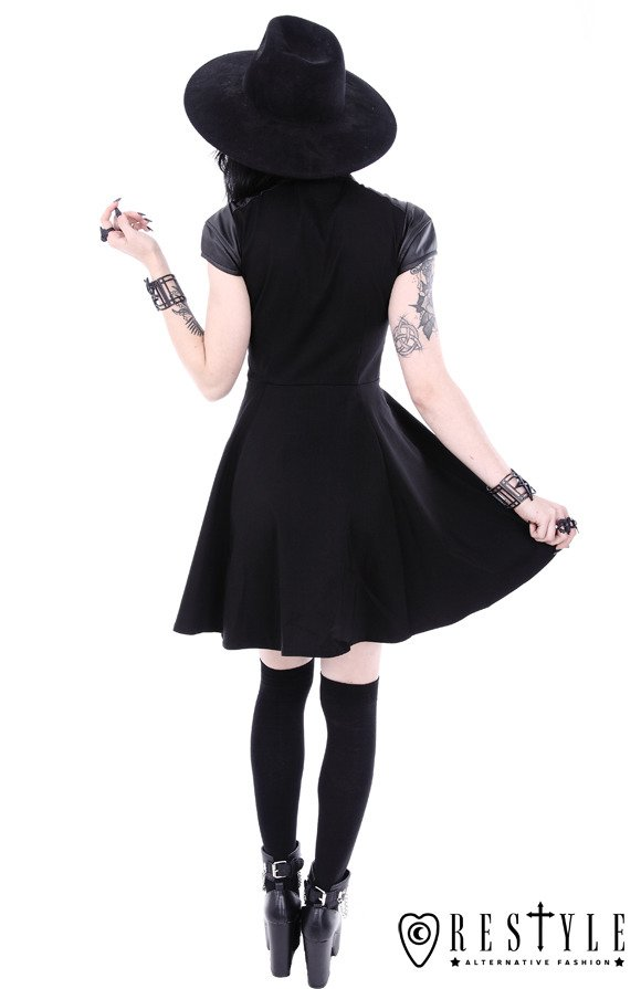 "Black gothic dress, witchcraft fashion, moon zipper ""FUTURE GOTH DRESS"""