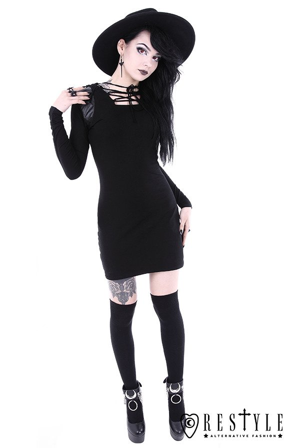 "Black gothic dress with lacing and hood ""ARMOR DRESS"""