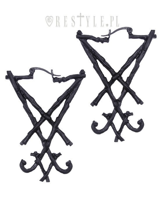 "Black gothic hoop earrings, occult jewellery ""BLACK LUCIFER SIGIL EARRINGS"""