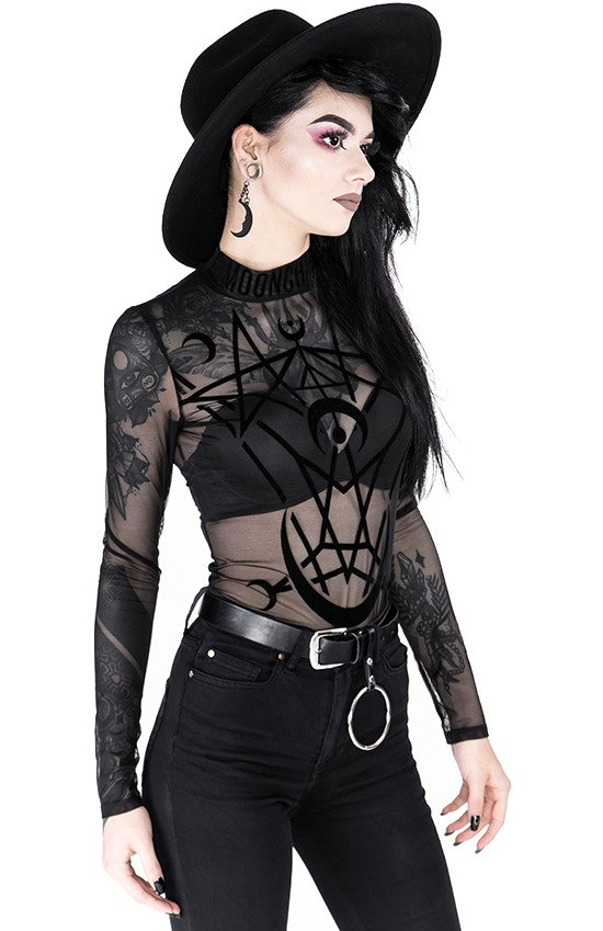 Black gothic jumpsuit MOON CHILD MESH BODYSUIT