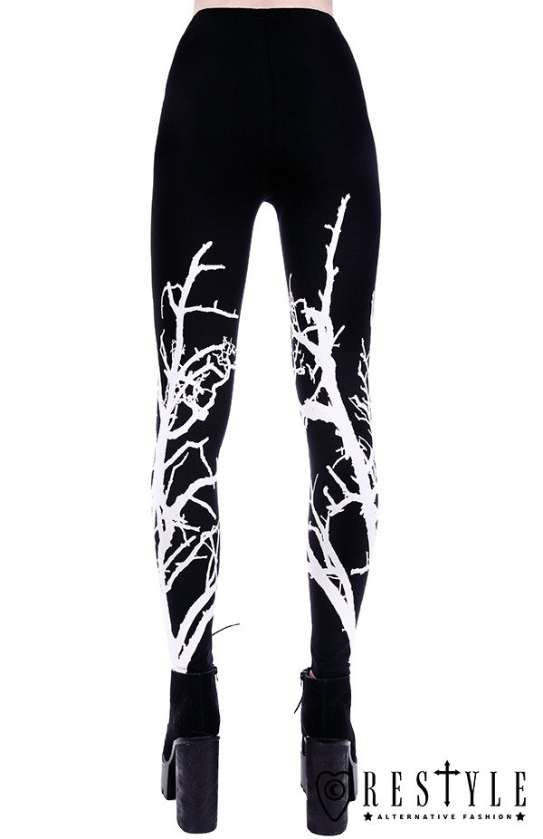"Black gothic leggings, gothic tree, nugoth trousers ""WHITE BRANCHES LEGGINGS"""