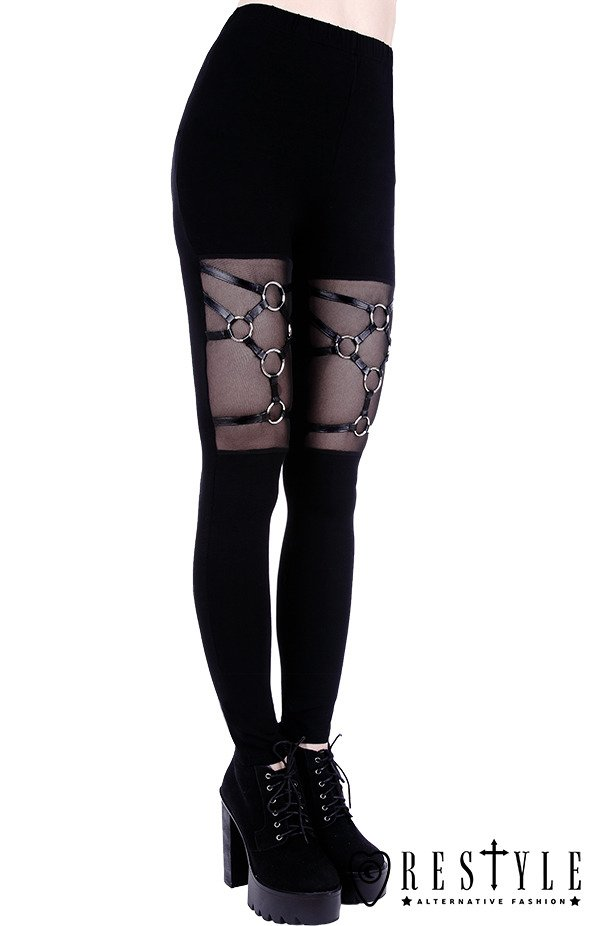 "Black gothic leggings, leather straps, nugoth trousers ""HARNESS LEGGINGS"""