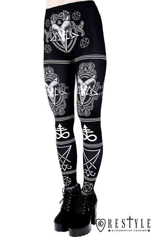 "Black gothic leggings with Ram skull and pentagram ""SATANIC LEGGINGS"""