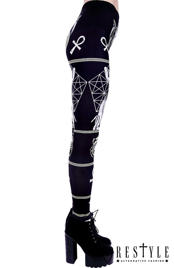 "Black gothic leggings with sphynx cat, Bastet,  occult trousers ""SPHYNX LEGGINGS"""