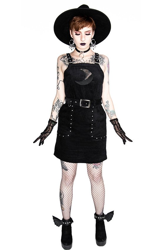 Black gothic mesh moon suspender CORDUROY CRESCENT DRESS