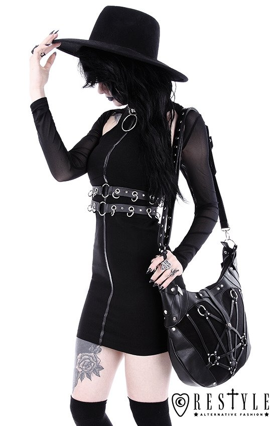 "Black gothic pencil dress with ring collar ""RING COLLAR DRESS"""