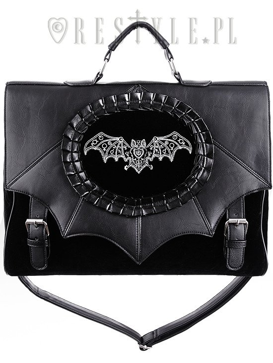 "Black gothic satchel cameo bag, bat wings handbag A4 Briefcase ""MAGIC BAT"""