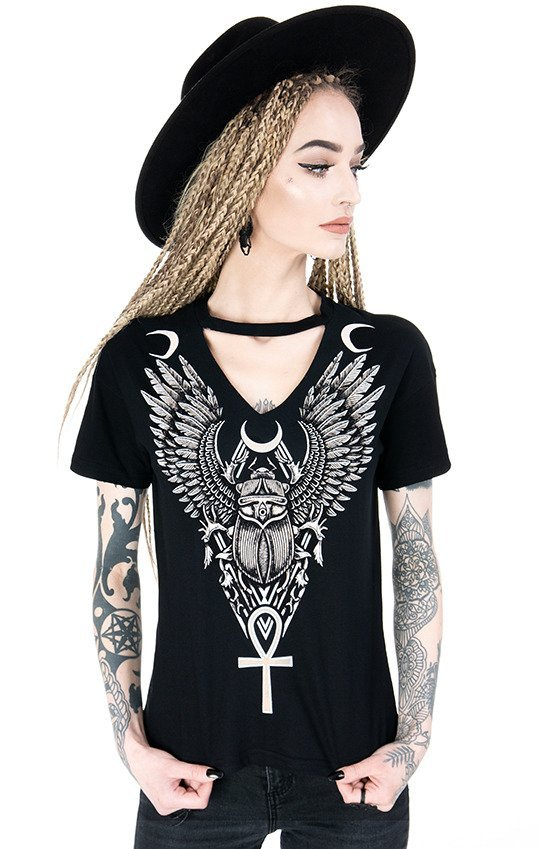 Black gothic t-shirt with choker Ancient Scarab