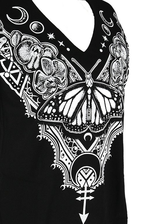 Black gothic women T-shirt with choker HENNA BUTTERFLY V-neck