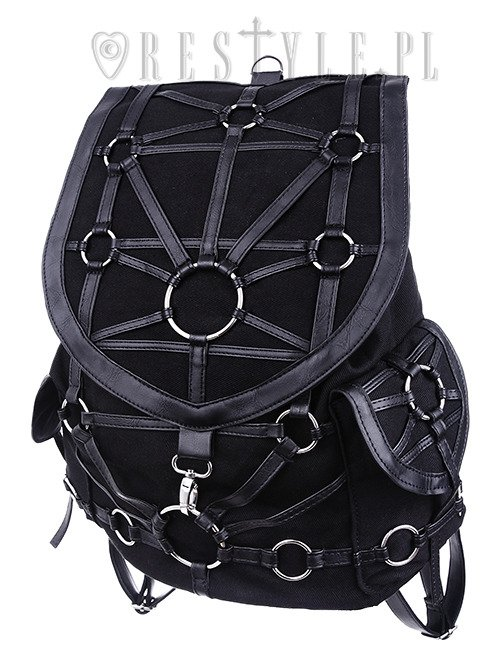 "Black harness backpack, with pockets, occult, black fashion""O-RING BACKPACK"""