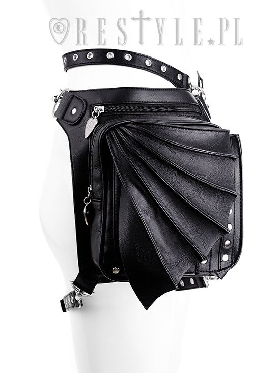 "Black hip bag with pockets, pocket belt, wing bag, gothic utility belt""BAT HOLSTER BAG"""
