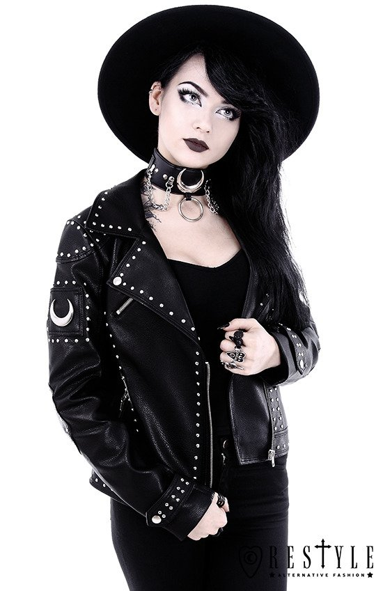 "Black leather jacket with studs and crescents ""IRON MOON BIKER JACKET"""