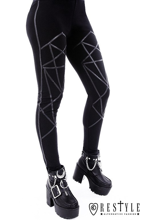 "Black leggings with harness, occult trousers ""PENTAGRAM LEGGINGS"""