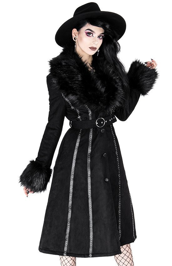 Black long gothic coat with faux fur FEMME FATALE COAT