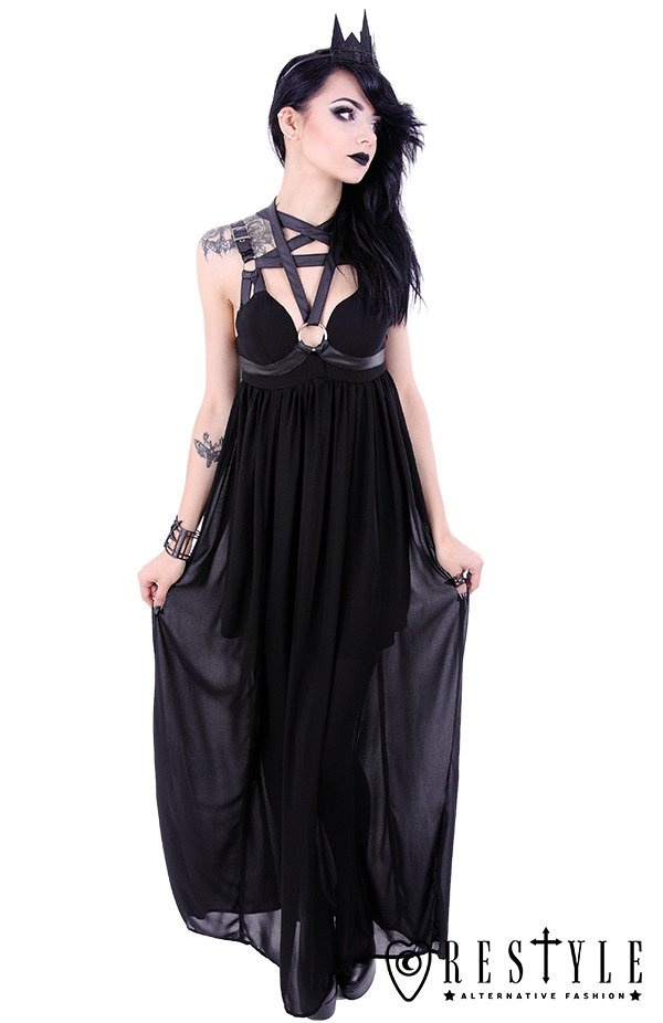 "Black long gothic dress, leather straps, o-rings, witchy ""PENTAGRAM DRESS"""