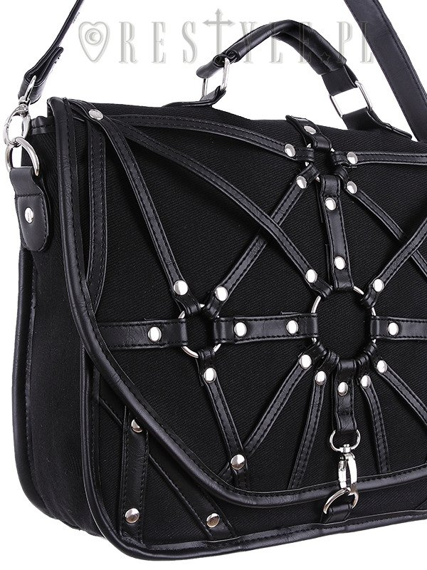 "Black messenger bag, nugoth briefcase, occult, black fashion ""HARNESS SATCHEL"""