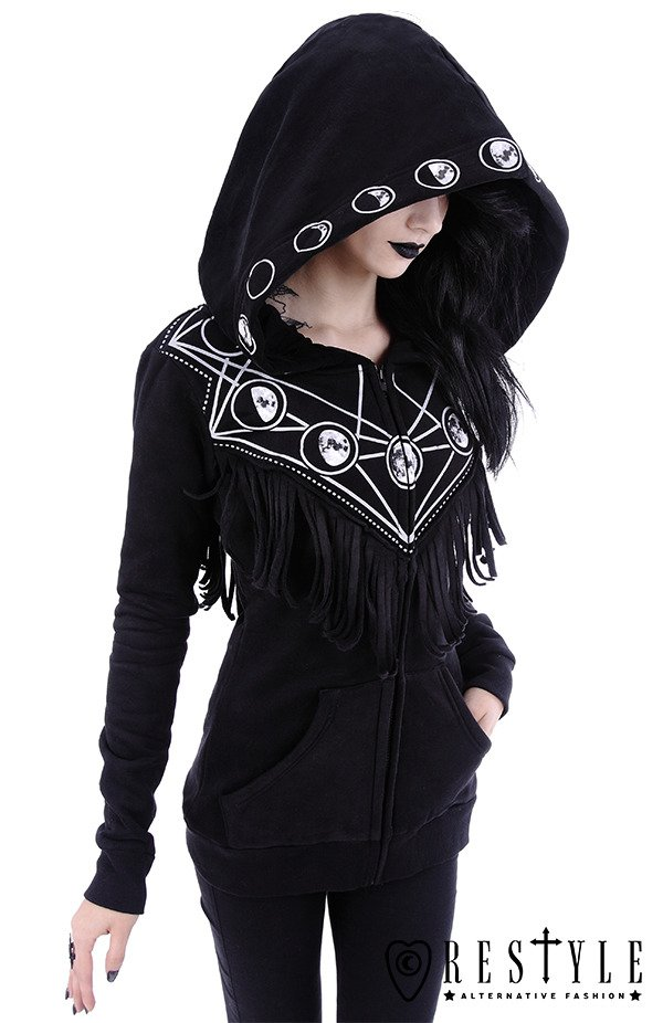 "Black occult blouse with pockets, oversized hood, moon phases ""MOON GEOMETRY HOODIE"""