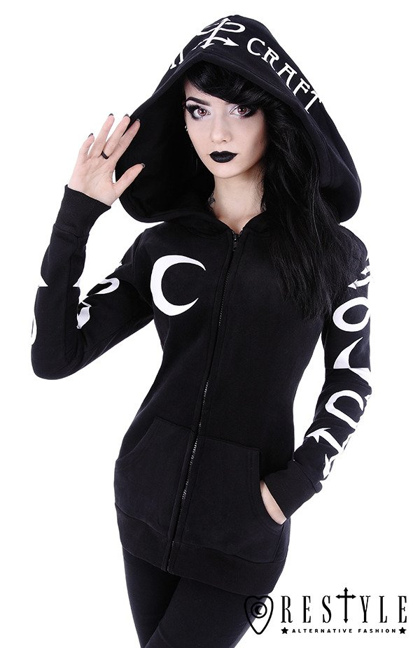 Black occult blouse with pockets, oversized hood, witchcraft